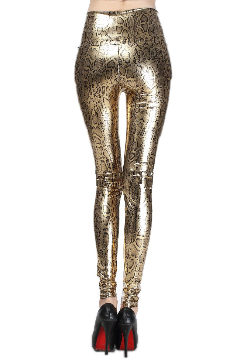 Woman Gold Snake Leggings