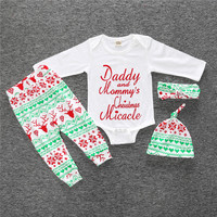 3PCS Baby Christmas Deer Romper Infant Newborn Boys Girls Sleepwear Pajamas Clothing Sets Jumpsuit Hat Pants