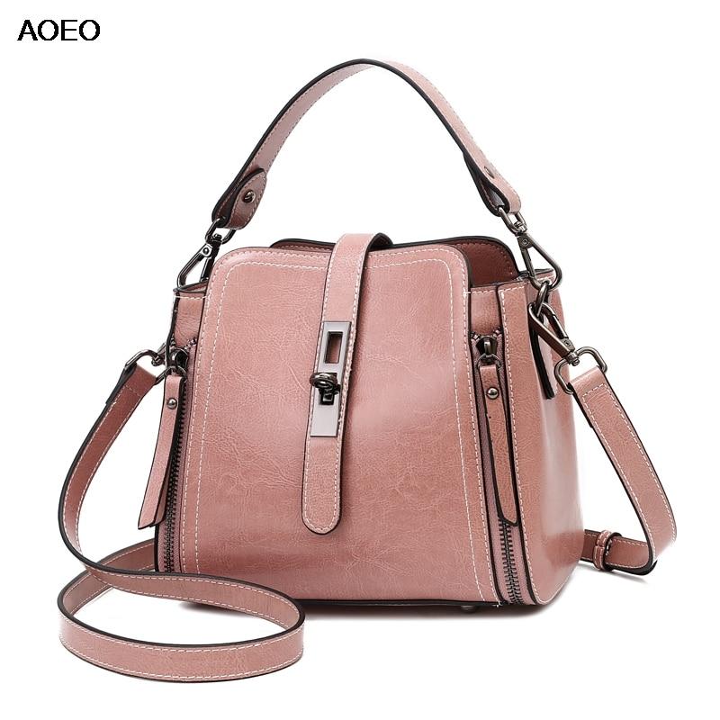 AOEO Women Handbag With Lock Split Leather Elegant Small Crossbody Bag Wide Handle Girls Luxury Shoulder