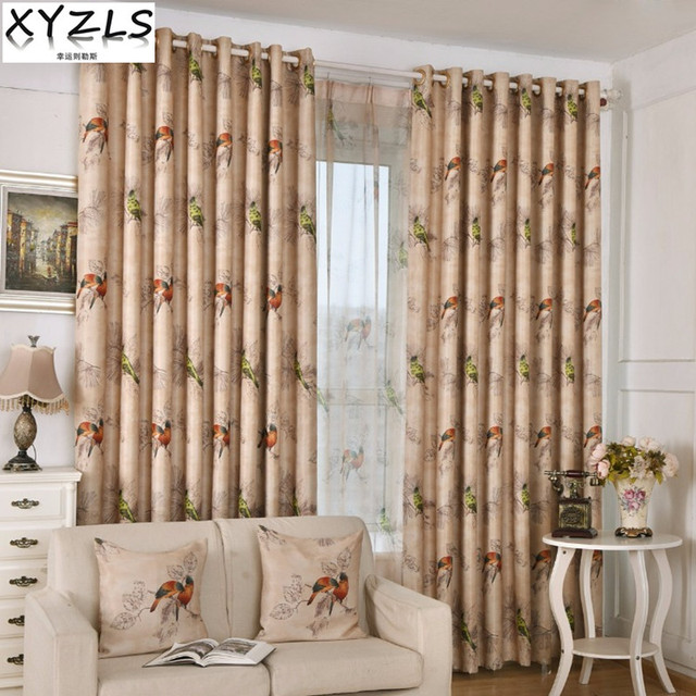 XYZLS Brand European Retro Birds Tulle Curtain And Blinds Blackout Curtains  For Home Bedroom Living Room
