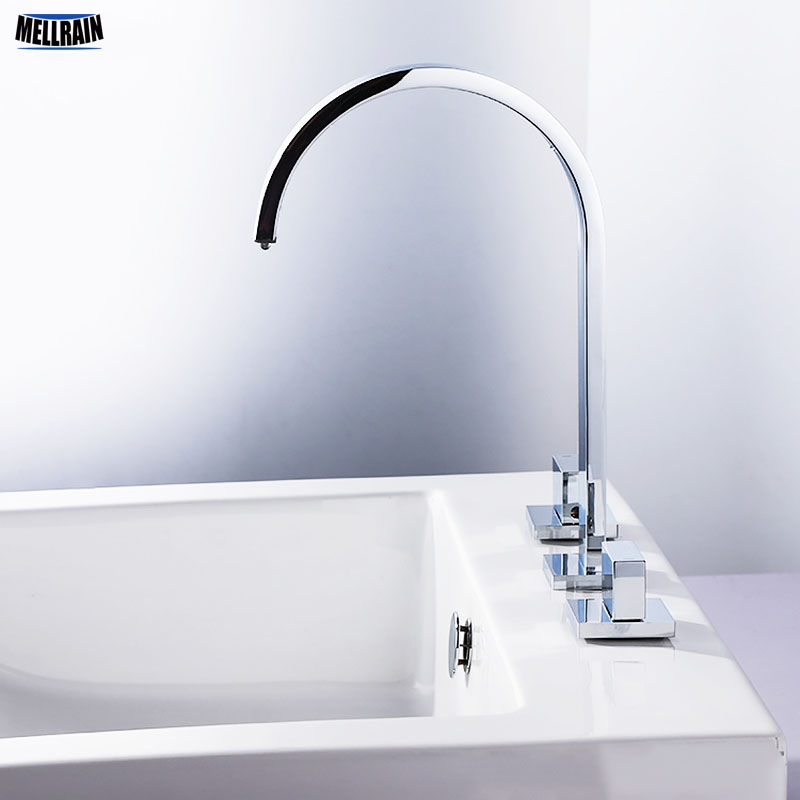 High Quality Double Handle Bathroom Faucet Brass Widespread Deck ...