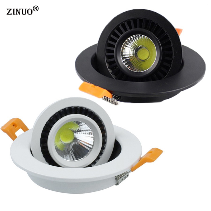 ZINUOb Dimmable COB led Downlight 5W 7W 9W 20W 360 Degree Rotation Round Recessed LED Lamp With Driver AC85-265V free shipping 20w cob adjustable led downlight recessed gimbal down lamp commercial supermarket ceiling lamp ac85 265v