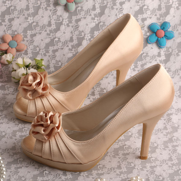 Dropship Customize Handmade Flower Women Wedding Shoes Peep Toe High Heels New Arrive