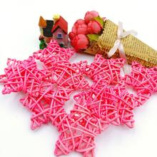 10Pcs/Set 6cm Pink Rattan Stars Home Decoration Craft Supplies For Christmas Birthday Party Sepak Takraw Babyshower