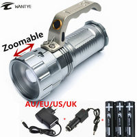 Zoomable 4000LM CREE XM L L2 LED Flashlight Torch Light Rechargeable 3 Mode Hunting Lights Linterna