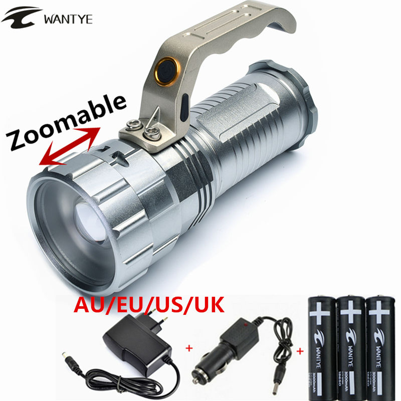Zoomable 4000LM zoom XM-L L2 LED Flashlight Torch Light Rechargeable 3-mode Hunting lights linterna +3x18650 battery/charger xm l t6 led flashlight torch light zoomable 5 mode led flash light 4000lm linterna led lanterna 18650 rechargeable battery