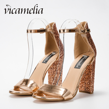 Vicamelia Women Glossy Block Heel Sandals Shiny Sequins High Fish Mouth Buckle Sandal Party Shoes With Glitter 565