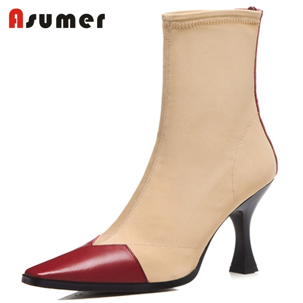 ASUMER 2018 NEW fashion genuine leather+stretch fabric ankle boots women square toe thin high heels zipper shoes dress shoes