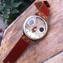 1 pc femmes montre fille horloge cadeau Nouvellement Conception Quartz Hibou montre Brève PU En Cuir Analogique Ronde Mode Montres Quartz Montre-Bracelet X3