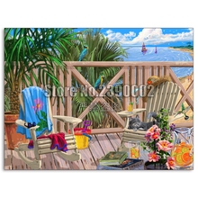 DIY Diamond painting Peaceful Paradise Full embroidery Cross Stitch Boats Beach Ocean landscape Mosaic Christmas gifts