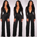 Jumpsuit For Women 2017 Sexy Deep V-neck Black Lace Bodycon Jumpsuit Elegant Long Sleeve Stretch Wide Leg Romper Clubwear KP#696