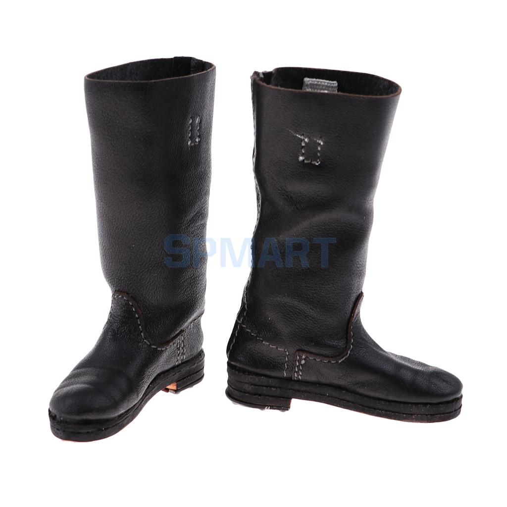 """1//6 Scale Men's Leather Shoes Black Boots for Phicen Hot Toys Male 12/"""" Body Doll"""