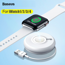 Baseus Qi Wireless Charger For Apple Watch 4 3 2 1 Series Magnetic USB Charger Fast Wireless Charging Pad For iWatch With Cable mini qi standard mobile wireless power charger with usb cable white