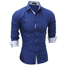 Autumn New 2017 Casual Fashion  Business Shirt Long Sleeve Men'S Shirts Slim Fit Grid Dress Shirt Men Clothing Size M-XXL