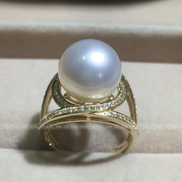 wedding Women Gift word 925 Sterling silver real Import Australia Nanyang Gaultheria seawater pearl ring  carat   round flawedding Women Gift word 925 Sterling silver real Import Australia Nanyang Gaultheria seawater pearl ring  carat   round fla