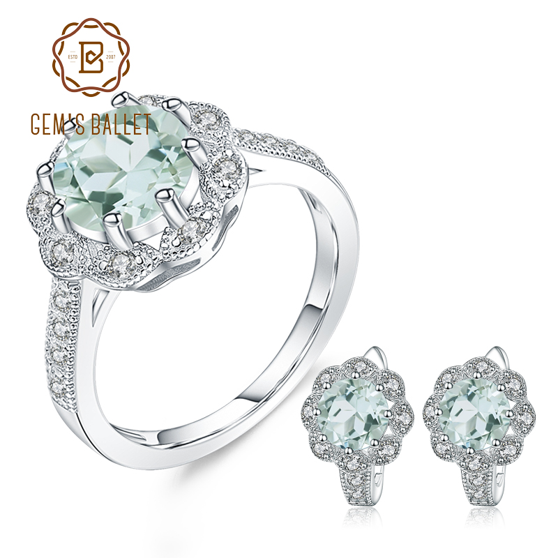 GEM S BALLET 4 56Ct Natural Green Amethyst Earrings Ring Set Fine Jewelry For Women 925