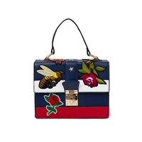 2017 Luxury Women Handbag Italy Famous Brand Floral Bee Embroidery Blue Women Tote Satchel Bag Designer