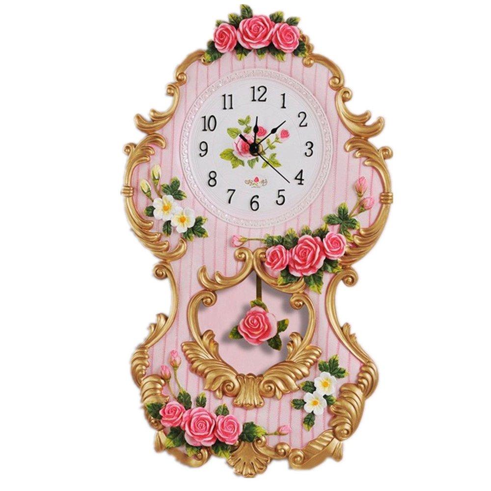 Novelty Vogue Rural Mute Fashion Rose Wedding Swing Wall Clock