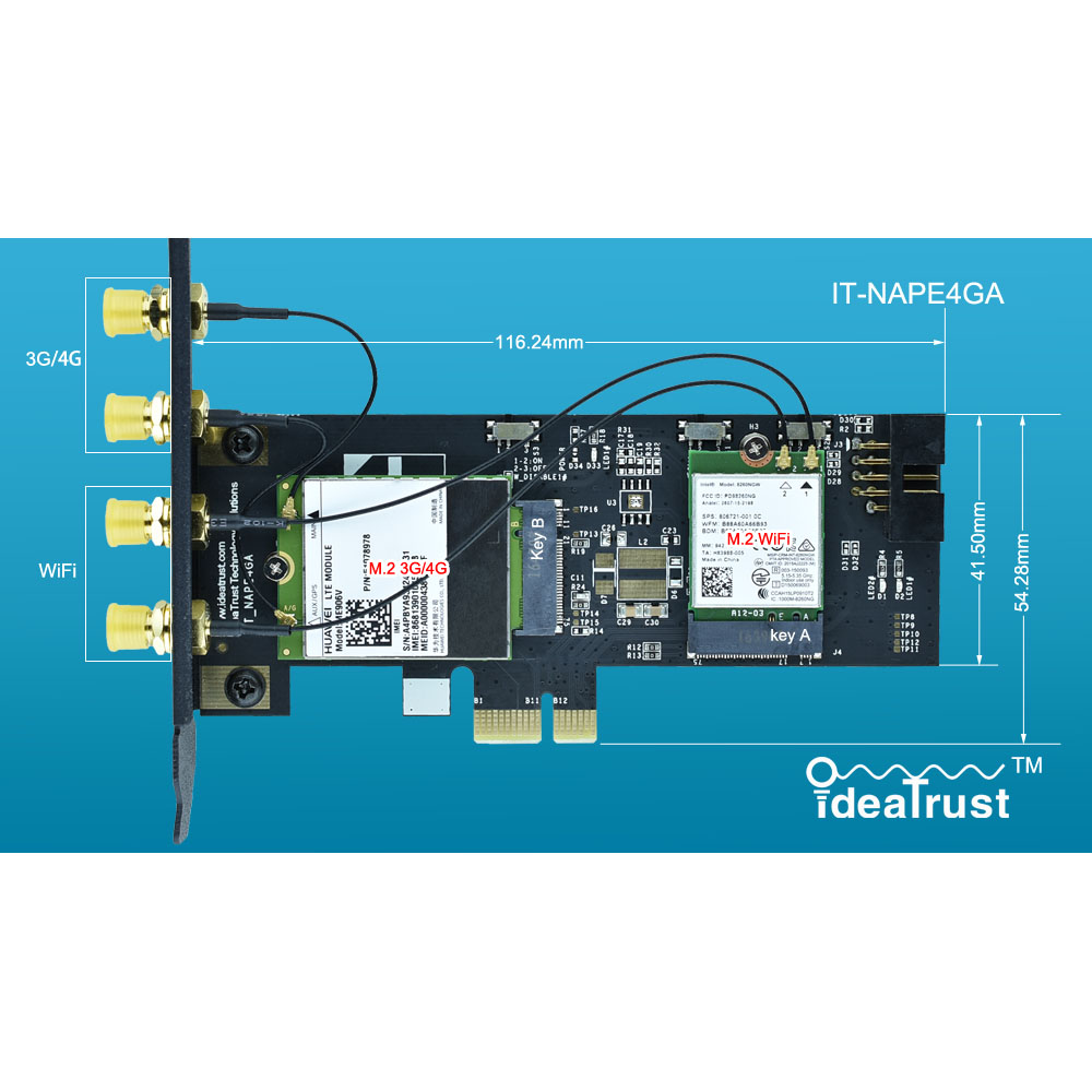 IT-NAPE4GA 3G/4G And WiFi Card Adpater NGFF M2 M.2 Key B And Key A To PCIe PCI-E 1x 1X Adpater  PCI-E For Desktop