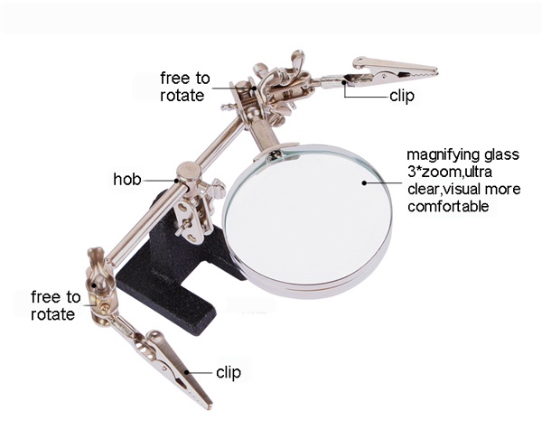 BEST 168Z Hands free help soldering PCB stand holder jig with 3X Magnifier Bench Magnifiers Maintenance of magnifying glass lamp