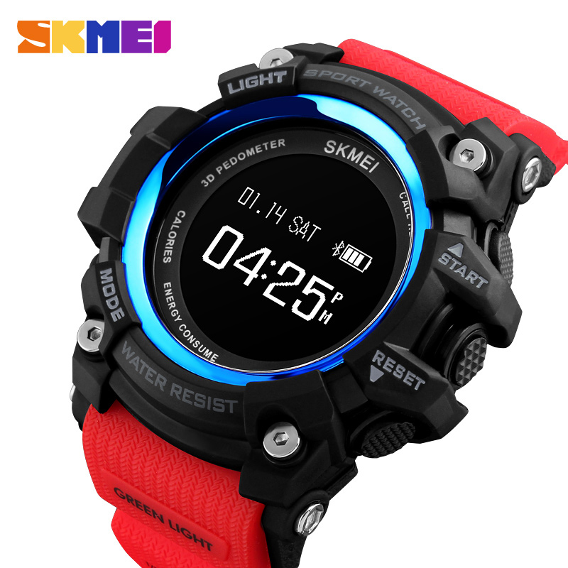 SKMEI Men Smart Watch Bluetooth Pedometer Sports Watches Calories Heart Rate Call Remind Digital Wristwatches Relogio Masculino pedometer heart rate monitor calories counter led digital sports watch skmei fitness for men women outdoor military wristwatches