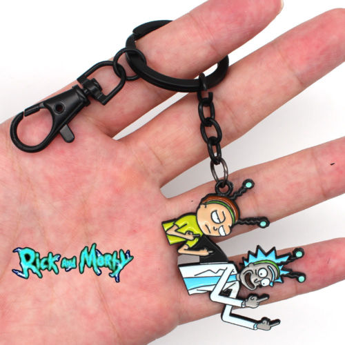 new-rick-and-morty-middle-finger-metal-handmade-pendant-keychain-keyring-ornament-cosplay-collection-otaku-gift-cool