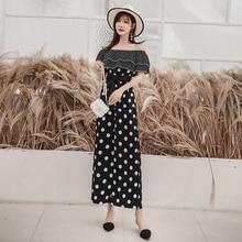 Summer Jumpsuits for Women 2019 Korean Vintage Polka Dot Ruffle Off Shoulder Bow Sash Chiffon Wide Leg Jumpsuit Black White S104 wide leg polka dot cami jumpsuit