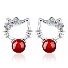 Silver plated Shambhala Super Flash crystal agate stone imitation pearl earrings fashion Hello Kitty jewelry 8MM