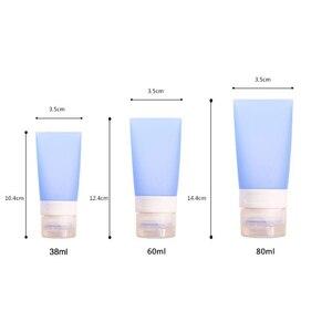 Image 3 - 38/60/80 ミリリットルポータブルシリコーンミニ旅行ボトルカラフルな空の透明なチューブ化粧品クリームローションコンテナ詰め替えボトル