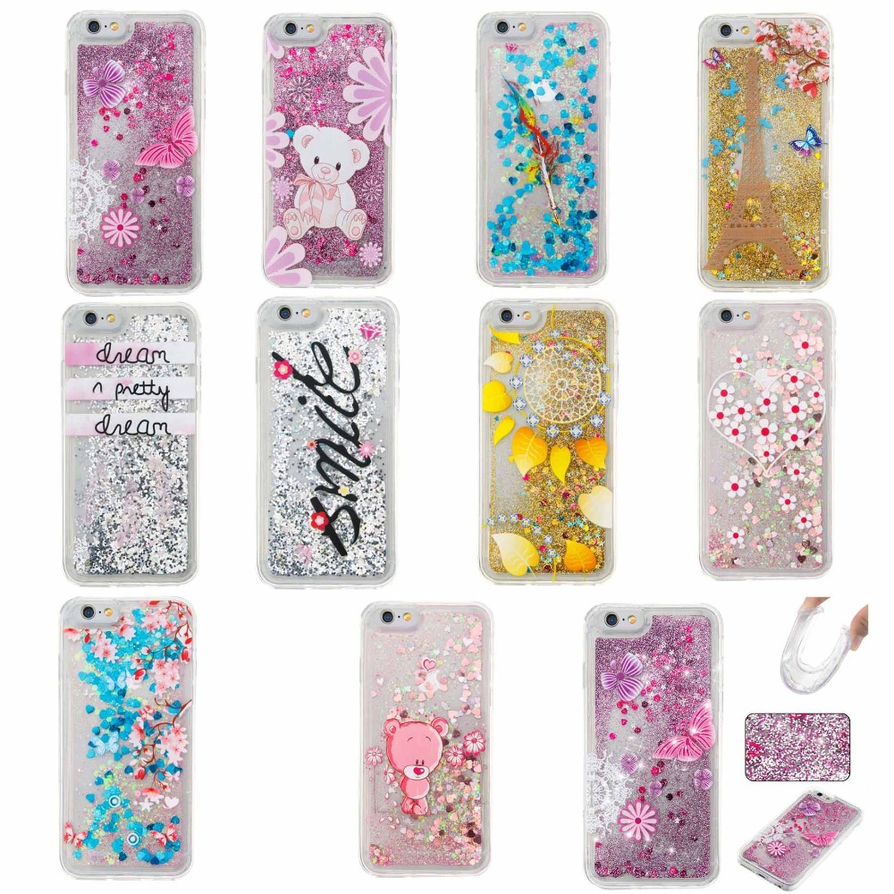 The new 2017 mobile phone case PU flow sand shell pattern case for iPhone 4s 5 5s/6 6 plus four colors flash phone shell