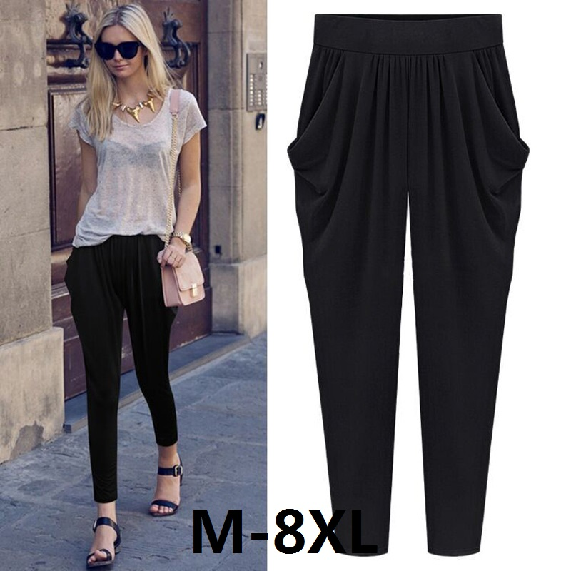 Summer Womens Harem Pants High Waist Loose Straight Ankle-length Pants Comfortable Casual Pants Large Size 8XL OL Pants 2009