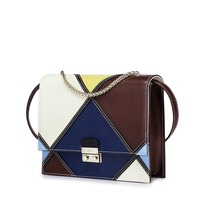 2016 Women S New Style Color Block Classic Vintage Chain Small Flap Handbag Cowhide Leather Casual