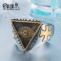 Beier new store 316L Stainless Steel ring top quality New Eye of Providence All-seeing Eye Ring  Cool Movie Ring jewelry BR8-176