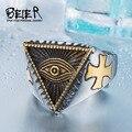 Beier nueva tienda de anillo de acero inoxidable 316l de calidad superior nuevo ojo de la Providencia Ojo Que Todo Lo Ve Película Fresca Del Anillo Anillo de la joyería BR8-176