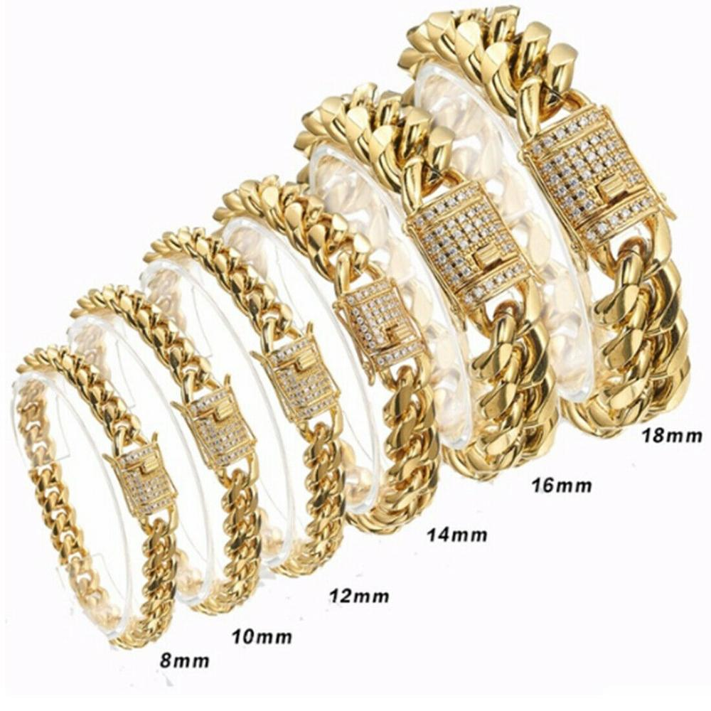 """Heavy Bracelet 20mm Hip Hop Gold Finish 8.5/"""" Cuban Chain Chunky Stainless Steel"""