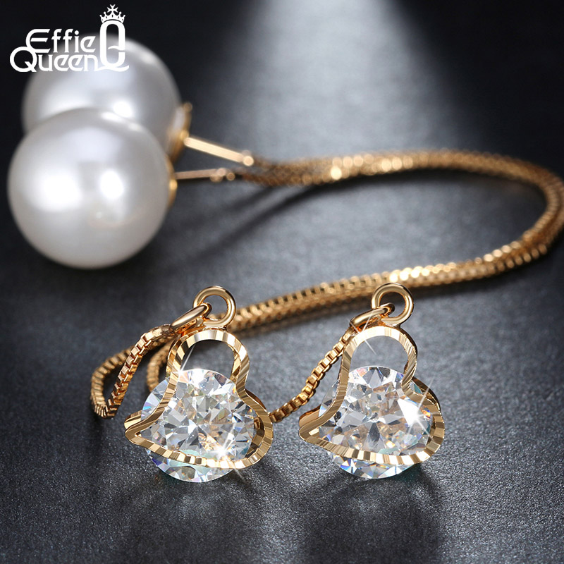 Effie Queen Fashion Cute Ear Wire Earrings Female Models Long Drop Crystal Imitation Pearl Jewelry Dangle Earrings Brincos DDE26