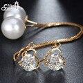 Moda Lindo Pendientes Del Alambre Del Oído Modelos Femeninos Joyería de Perlas de Imitación Cuelga Los Pendientes de Gota Largos de Cristal Brincos DDE26