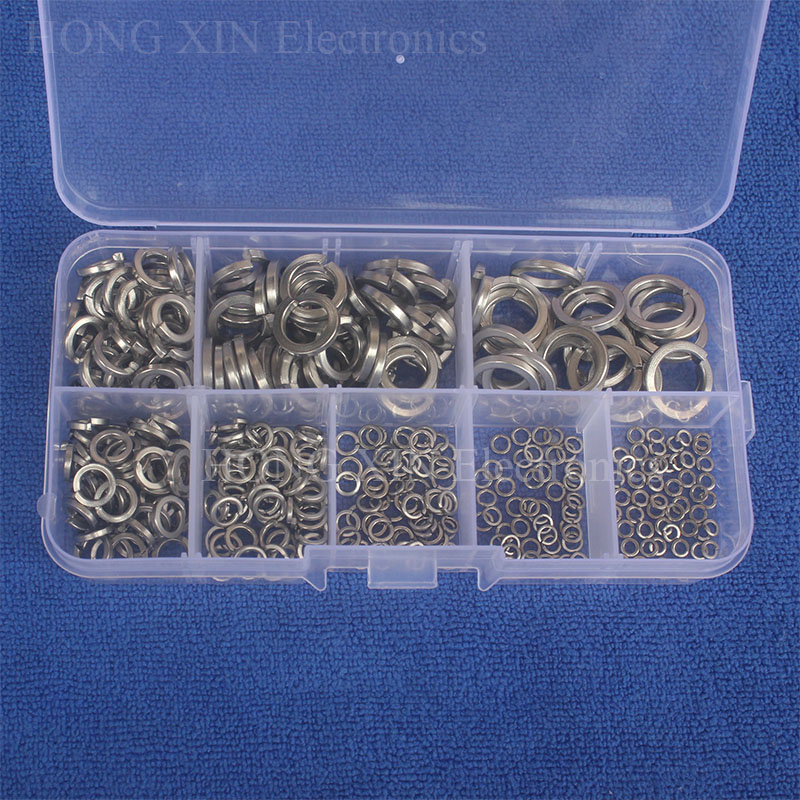 360pcs/set Stainless Steel Spring Washer Assortment Kit M2/M2.5/M3/M4/M5/M6/M8/M10 For Handware Tools Accessories360pcs/set Stainless Steel Spring Washer Assortment Kit M2/M2.5/M3/M4/M5/M6/M8/M10 For Handware Tools Accessories