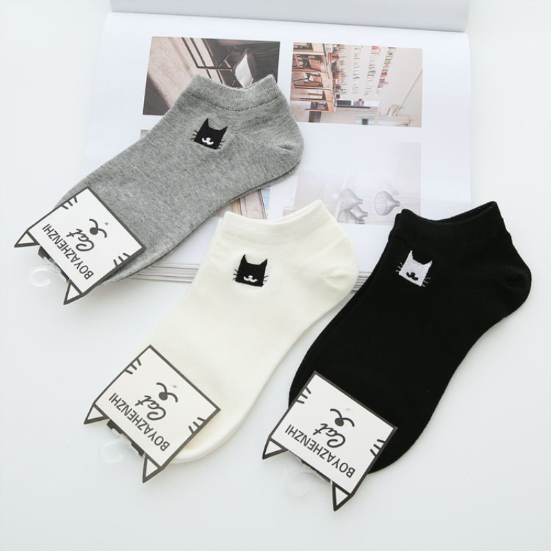 2018 New Summer Women Socks 3 Pair White Cotton Cute Cats Women Fashion Short Ankle Socks Women Breathable Cotton