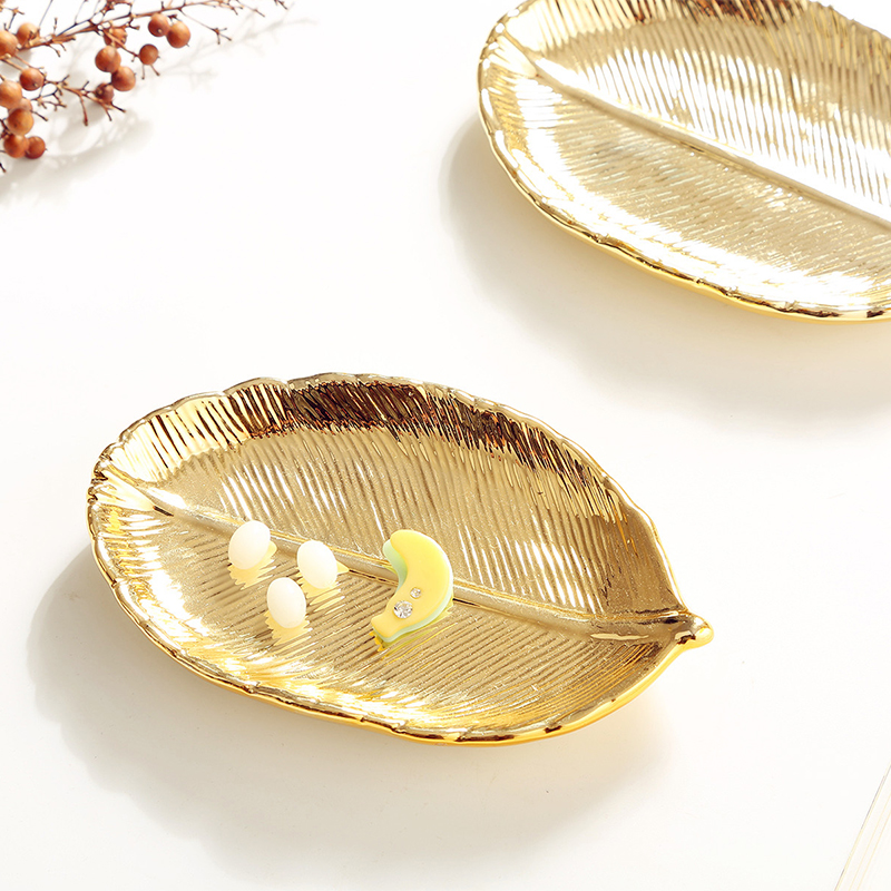 Nordic cosmetics gold-plated jewelry storage plate ceramic bedside table home docorative accessories holder creative gold leaf ...