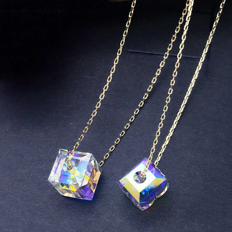 BAFFIN Original Crystals From Swarovski Cube Pendant Necklaces Gold Color Chain Beads Collares For Women Simple Fashion Joyas