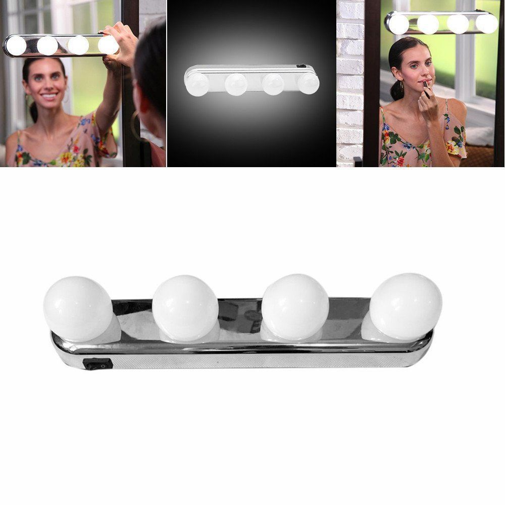 4 light bulbs Led cosmetic mirror lamp suction cup installation dresser dressing table lamp battery powered woman gift