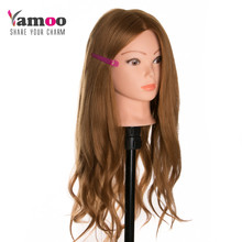 40% Human Hair 60cm hair Training Head blonde For Salon Hairdressing Mannequin Dolls professional styling head can be curled