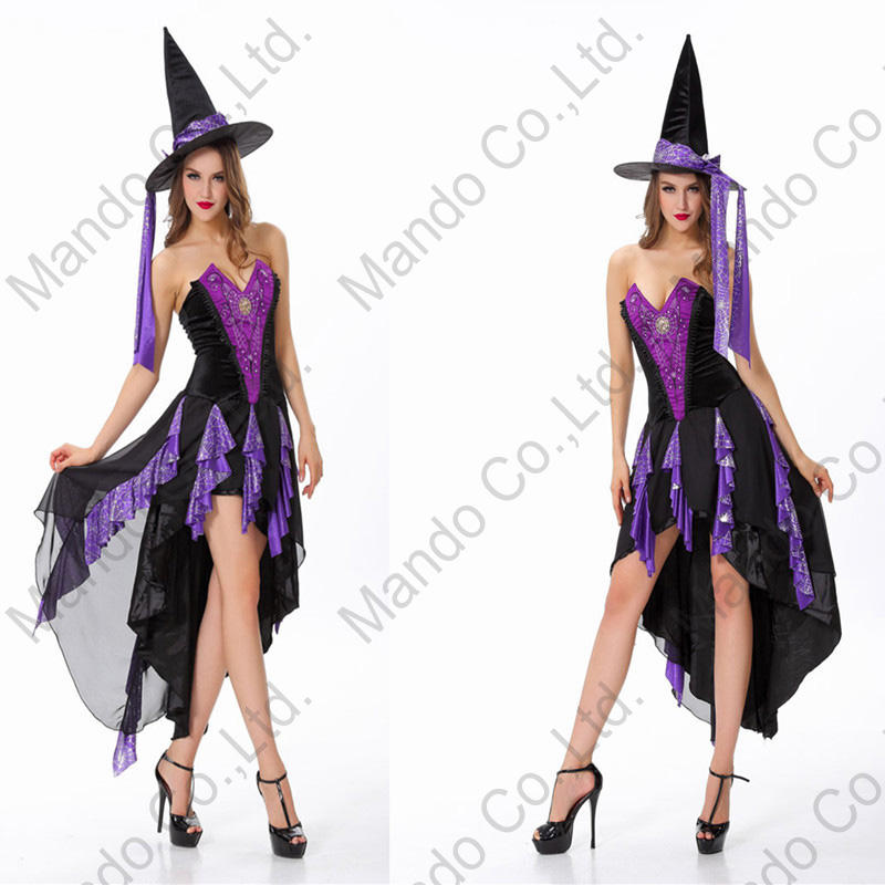 Adult Women Sexy Purple Witch Cosplay Costume Dress halloween party fancy dress