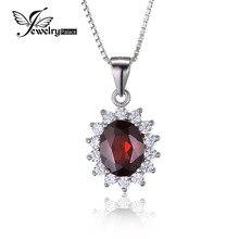 JewelryPalace 3ct Oval Princesa Diana Kate Natural Rojo Granate Colgante Pure 925 Joyas de Plata Para Las Mujeres Sin una Cadena