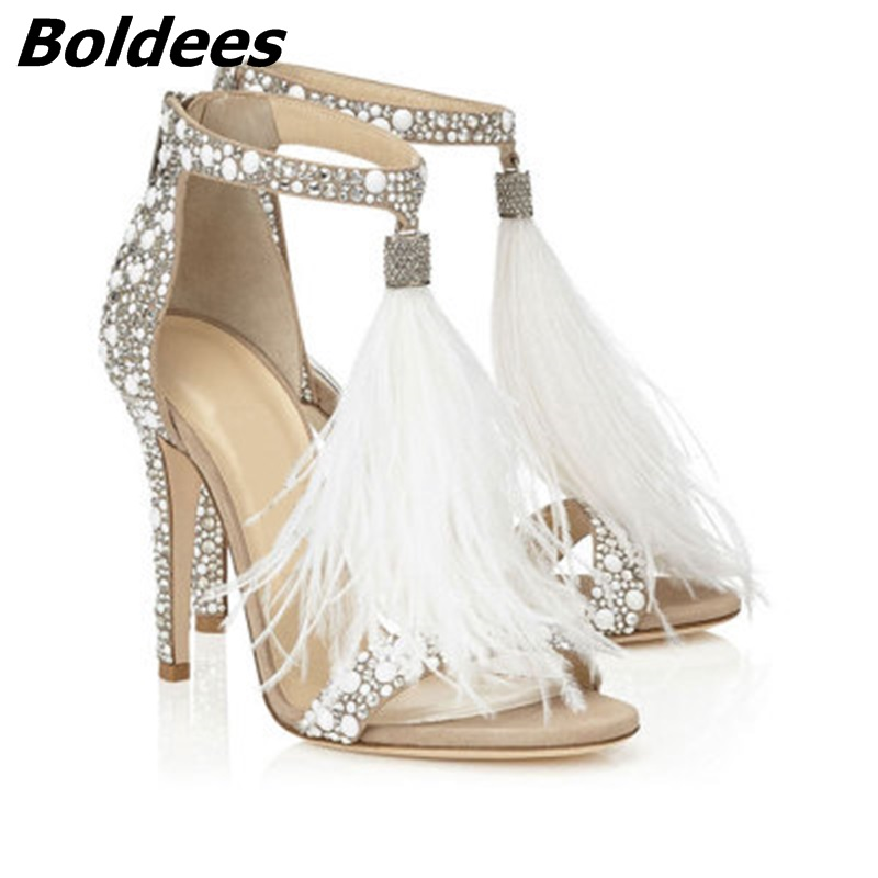 Fashion Brand Crystal Embellished White High Heel Sandals With Feather Fringe Rhinestone Sandals Bridal Wedding Shoes For Women stylish rhinestone single feather shape embellished golden bracelet for women