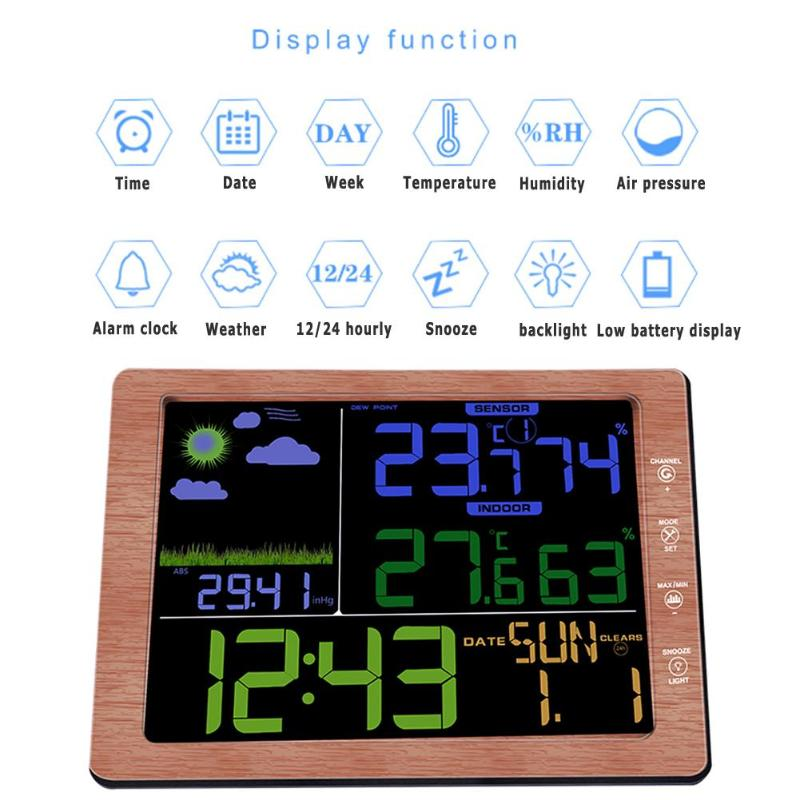 Wood Grain Multifuntions Thermometer Hygrometer Pressure Digital Weather Station Wireless Sensor LCD Display With Alarm Clock