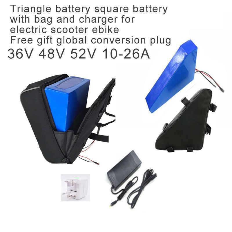 48 в электрический скутер на батарейках с сумкой зарядное устройство треугольник батарея квадратный для Mtb Горный Электрический велосипед литиевый 36 В 18A аккумулятор
