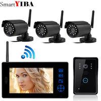 SmartYIBA 7 цветной видеодомофон беспроводное видеопереговорное устройство дверной домофон ИК ночного видения четыре камеры комплект