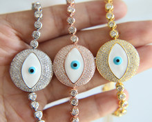 Hot Brand Woman EYE Charm Bracelets EVIL EYE Enamel Zirconia Tennis Bracelet Adjustable Chain Bracelet Women Jewelry(China)